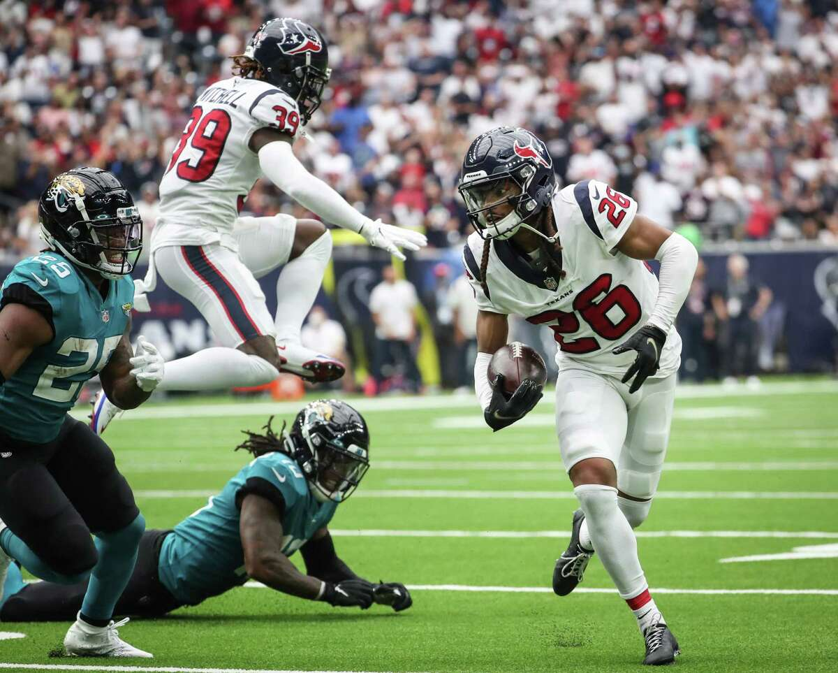Texans cornerback Vernon Hargreaves III returns one of the team's three interceptions Sunday against the Jaguars. That matched their interception total for all of last season.