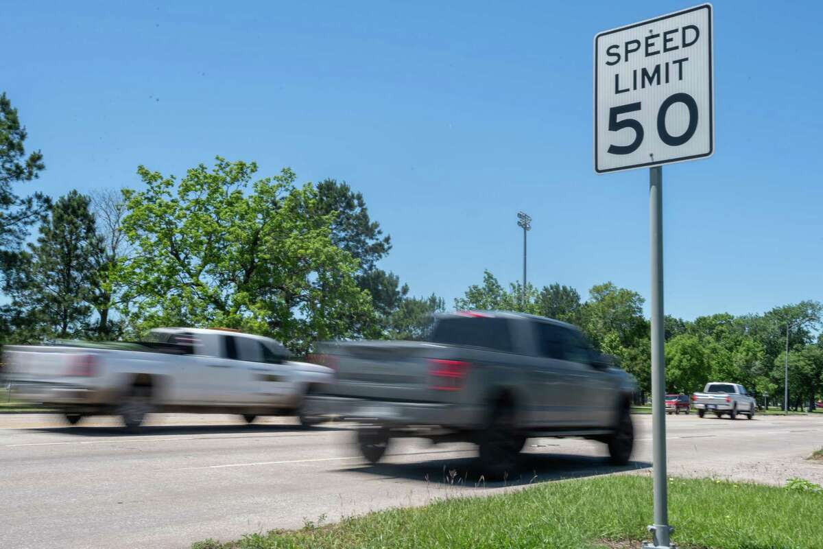 Traffic moves by a speed limit sign on College St. just west of Langham Rd. across from the sports complex. TxDOT and the city of Beaumont will be lowering speed limits in and out of the city limits due to higher than normal crash rates. Photo made on April 30, 2020. Fran Ruchalski/The Enterprise