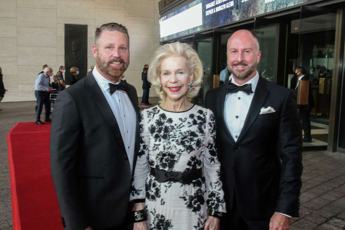 Kevin Black, from left, Lynn Wyatt and Tony Bradfield at the Houston Symphony Opening Night Concert.