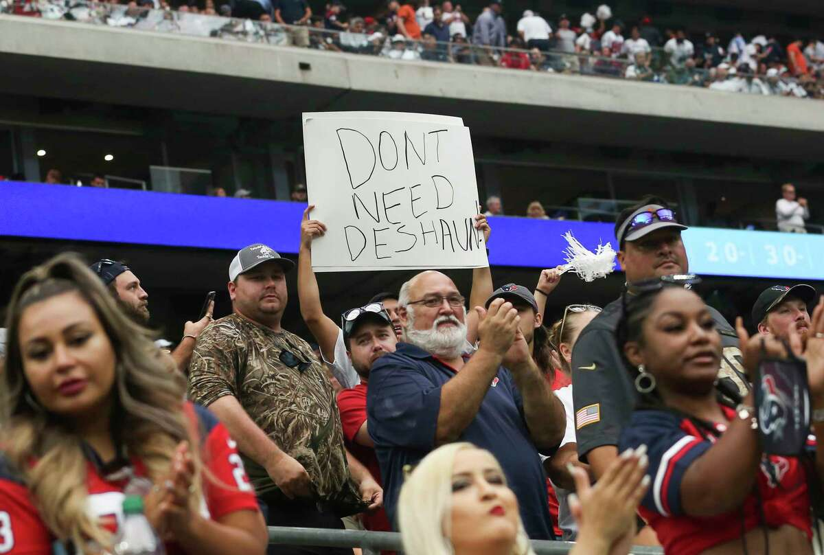 Deshaun who? This sign-wielding fan seems to be over Deshaun Watson, who was inactive Sunday amid his trade demand and legal issues.