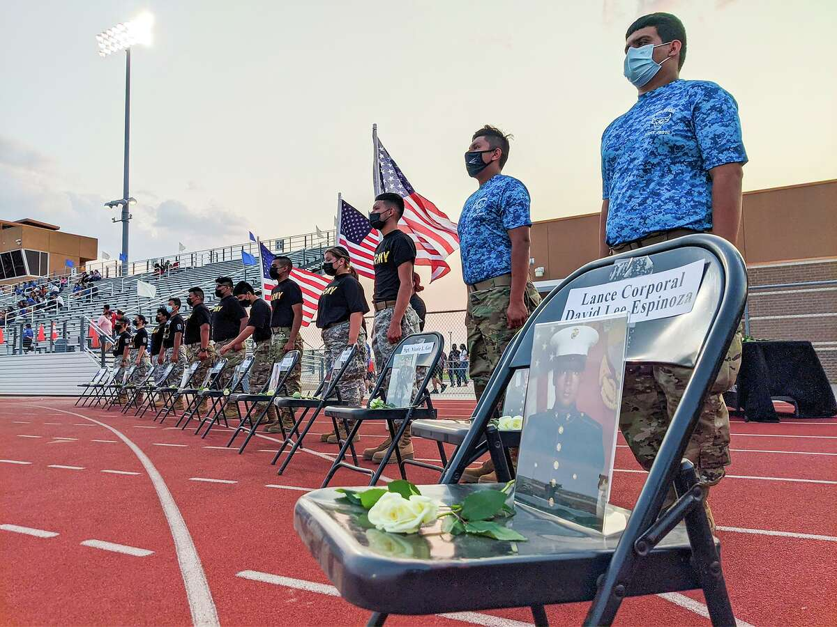 JROTC students from Cigarroa, Martin and Nixon High Schools pay tribute on Friday, Sept. 10 at Shirley Field to Lance Corporal David Lee Espinoza and the other 12 U.S. service members who lost their lives on Aug. 26 in Kabul, Afghanistan.