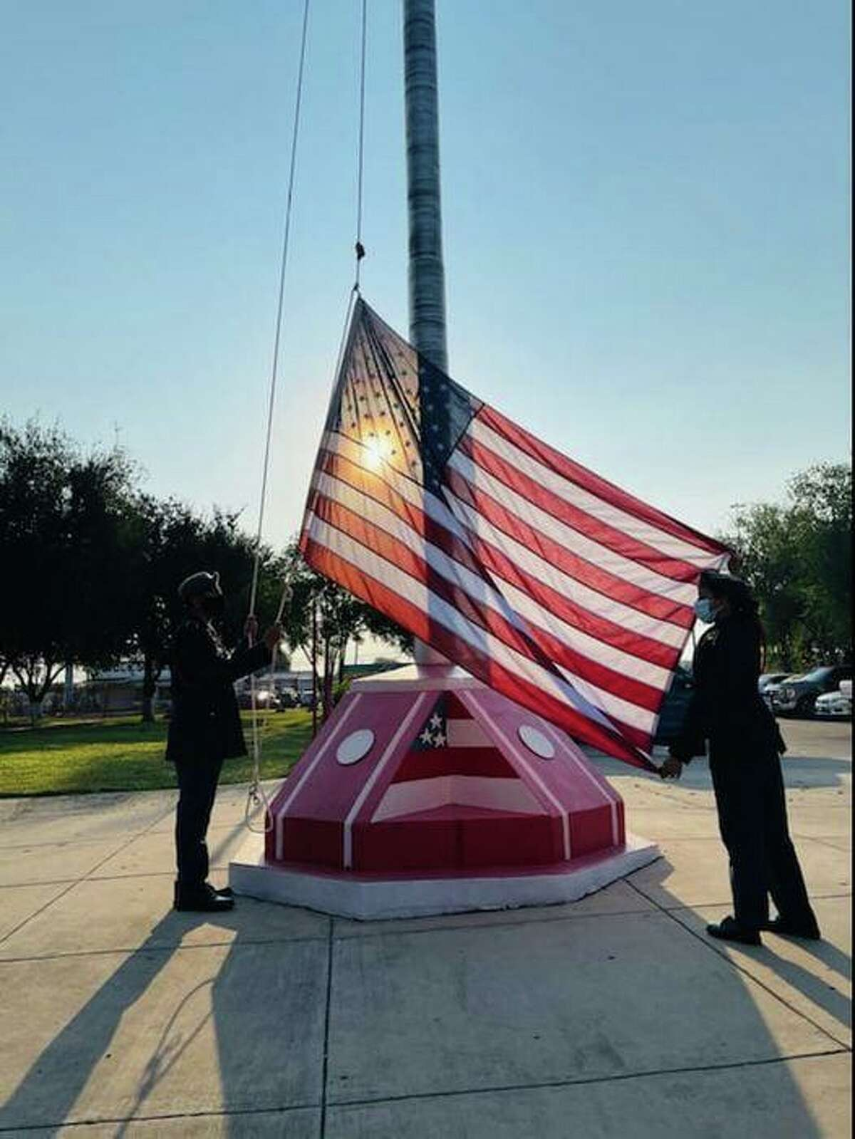Martin High School held a flag-raising ceremony Friday morning to mark the 20th Anniversary of the 9/11 attacks.