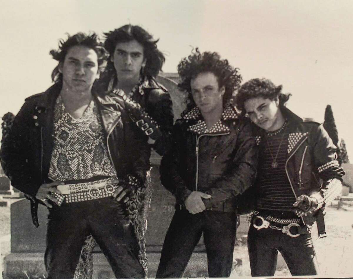 """The original members of Wyzard, an '80s metal band in San Antonio, were John Alvarado (from left), Rene Cox, Michael Angelo Valenzuela and Gilbert """"Buster"""" Grant. Cox died in 2017."""