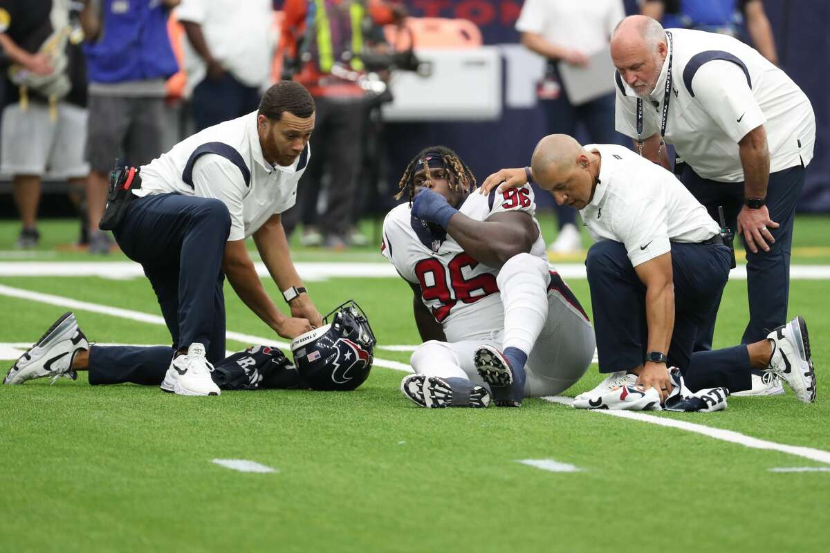 Texans defensive tackle Vincent Taylor left Sunday's season-opening win with an ankle injury during the fourth quarter.