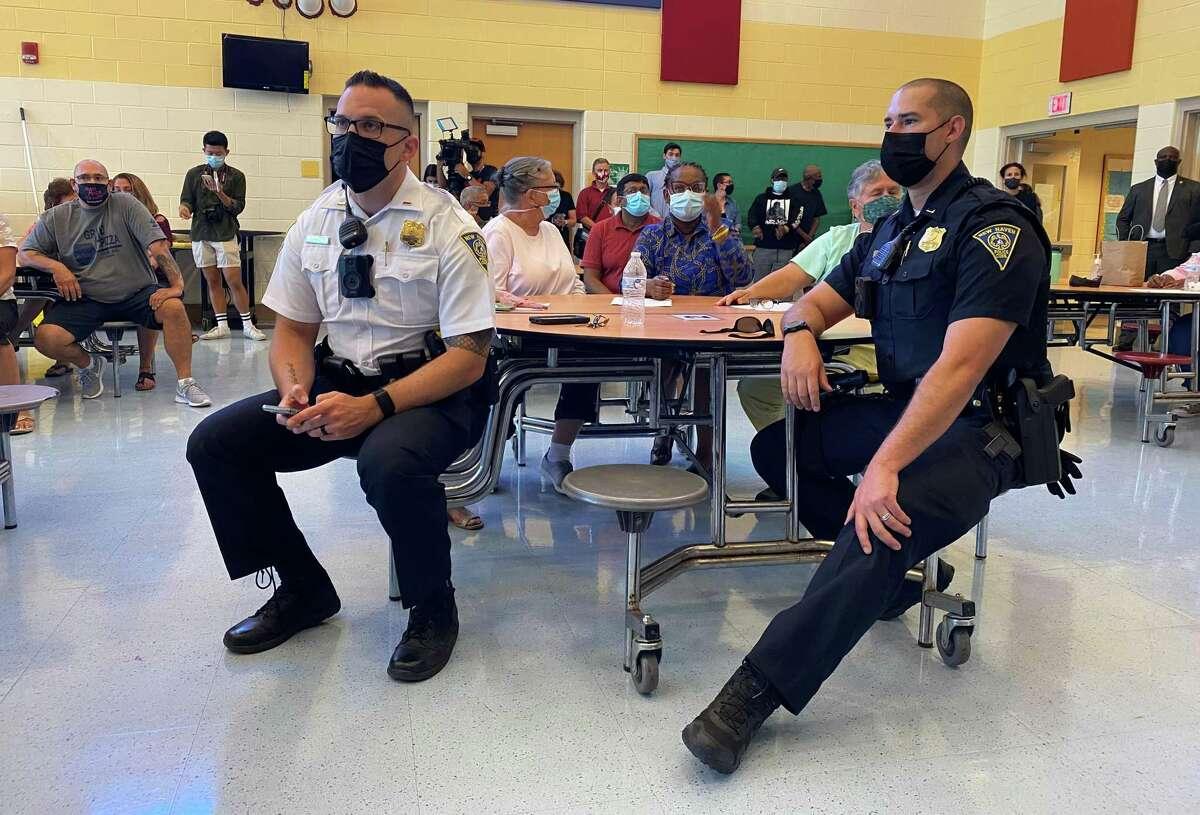 Lt. Michael Fumiatti, left, and Lt. Brendan Borer attended community meeting on gun violence.in Fair Haven.