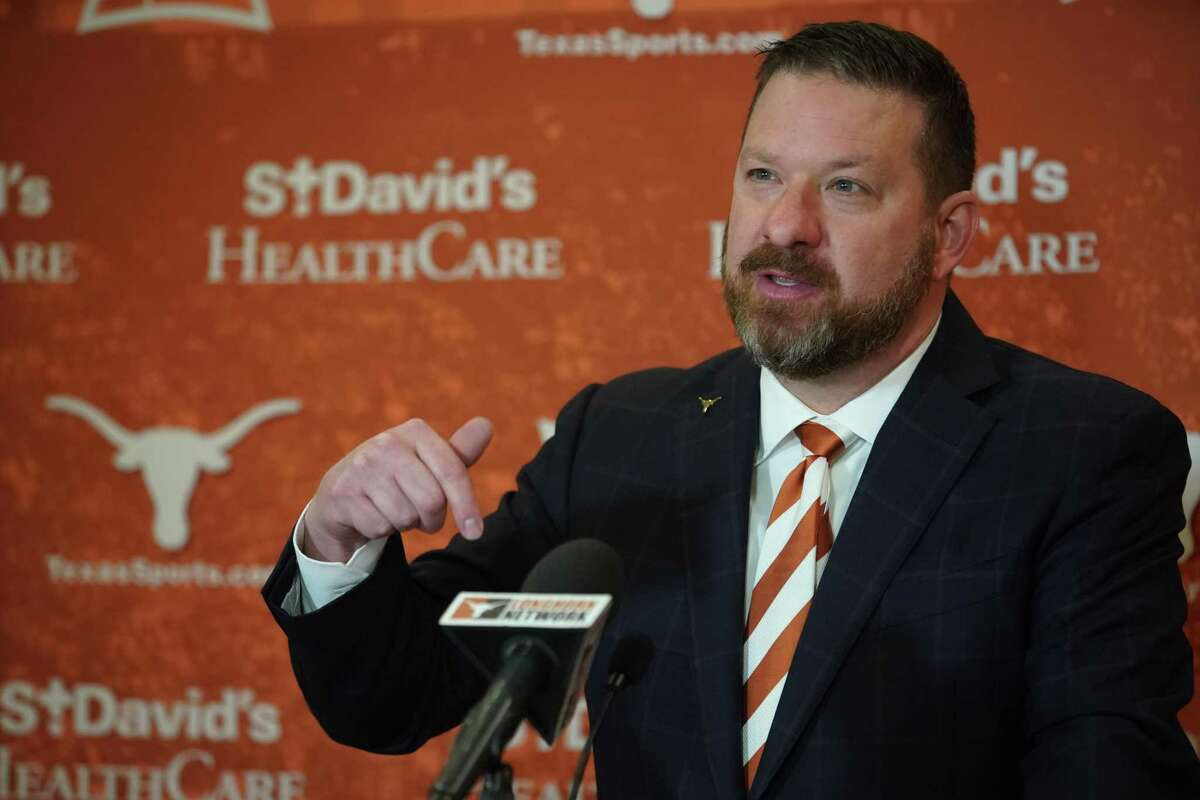 New Texas basketball coach Chris Beard at his introductory news conference April 2, 2021, in Austin.