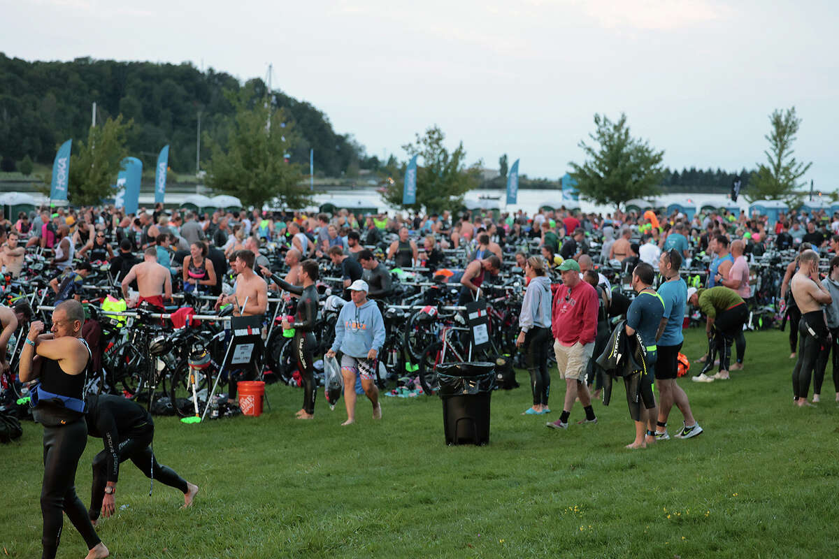 The Ironman got underway at approximately 8 a.m. Sunday morning, starting the ironman race with the swim, then moving on to the bike, and then the run as the final leg of the Triathalon. Thousands of spectators and participants descended on Frankfort for the 70.3 Michigan Ironman.