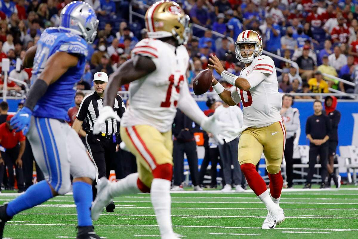 DETROIT, MICHIGAN - SEPTEMBER 12: Jimmy Garoppolo #10 of the San Francisco 49ers looks to pass during the second quarter of game against the Detroit Lions at Ford Field on September 12, 2021 in Detroit, Michigan. (Photo by Leon Halip/Getty Images)