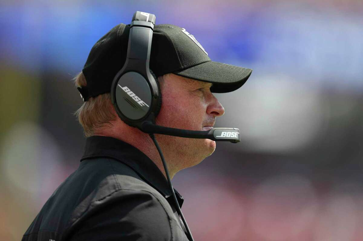 Head coach Jon Gruden and the Raiders will open their season in Las Vegas against Baltimore at 5:15 p.m. Monday. (ESPN)
