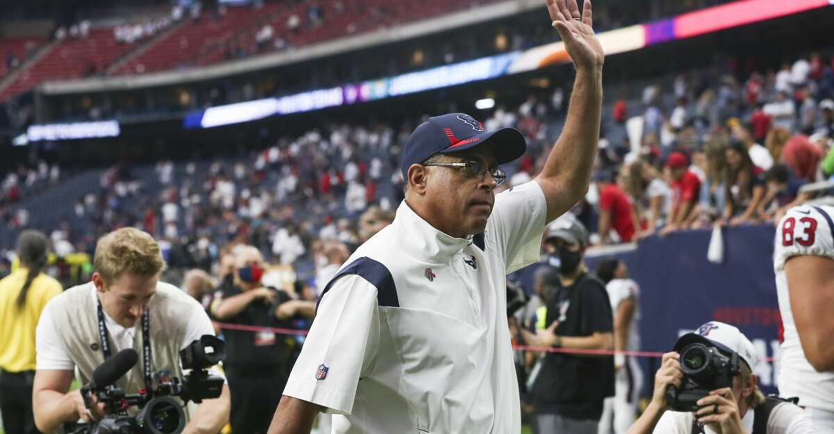 Houston Texans head coach David Culley waves at fans after winning his first NFL football game as a head coach Sunday, Sept. 12, 2021, in Houston. Houston Texans defeated Jacksonville Jaguars 37-21.