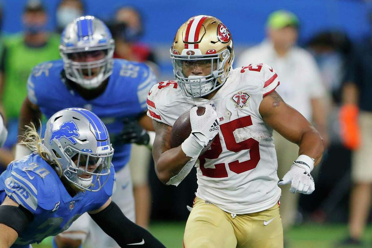 San Francisco 49ers running back Elijah Mitchell runs the ball against the Detroit Lions in the second half of an NFL football game in Detroit, Sunday, Sept. 12, 2021. (AP Photo/Duane Burleson)