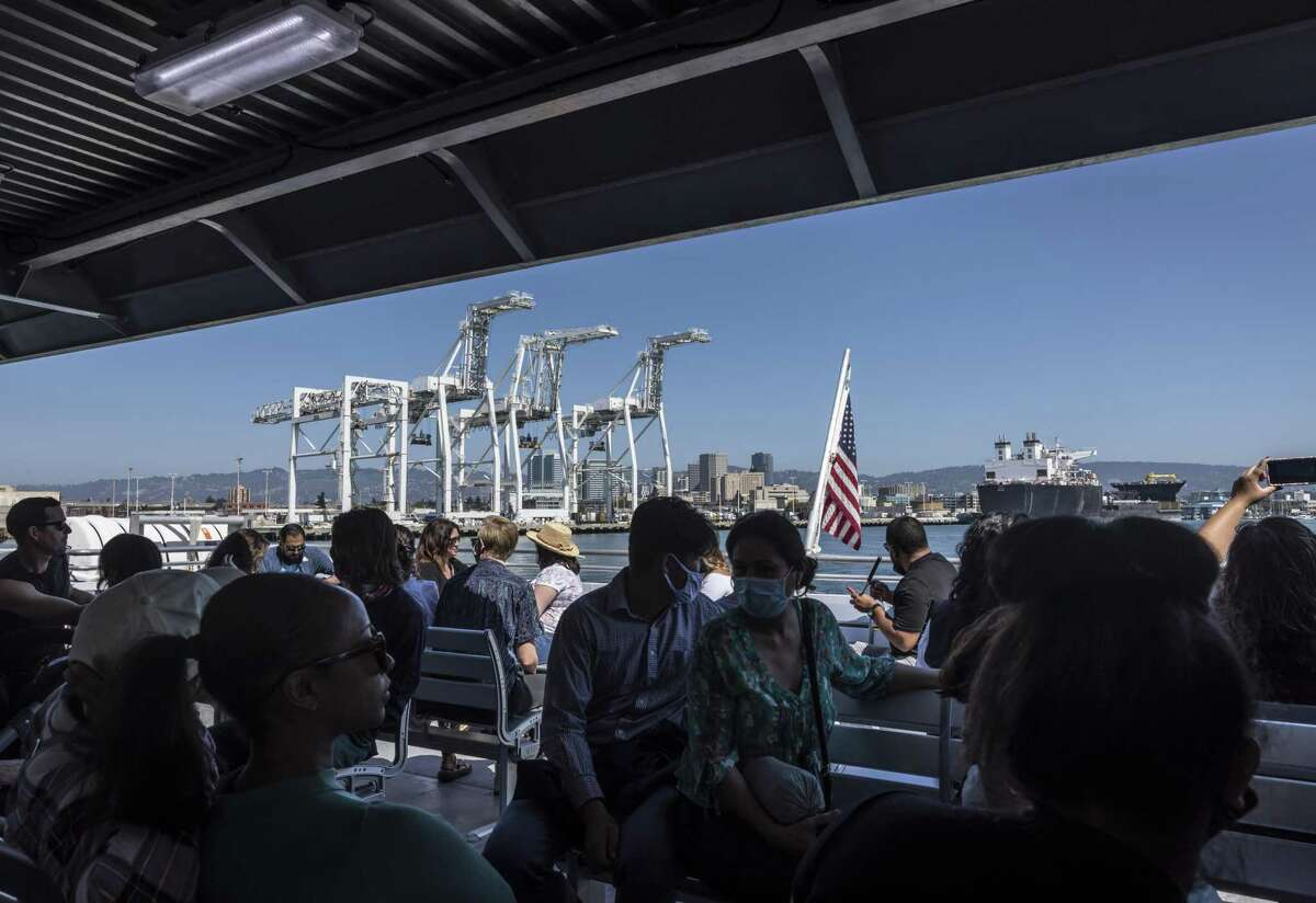 Passengers ride the San Francisco Bay Ferry in Oakland. The San Francisco Bay Ferry saw a popularity surge on the weekends after it expanded service this summer.