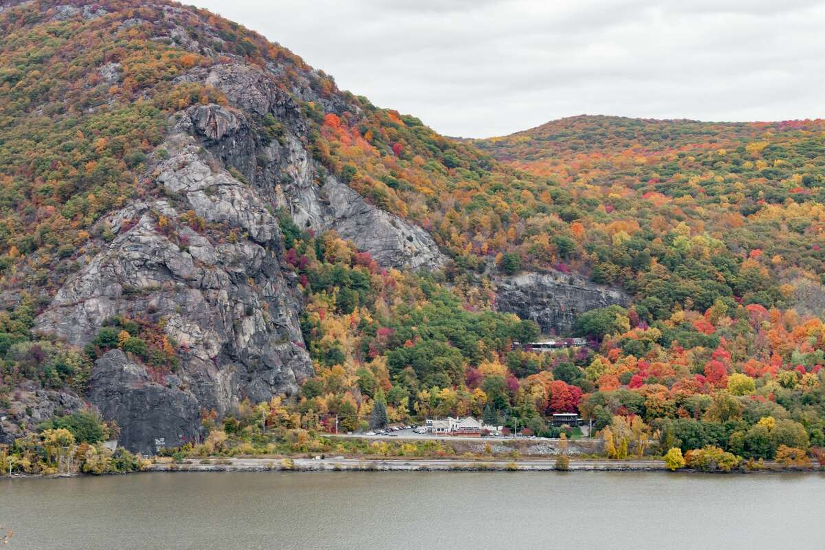 Breakneck Ridge, shown here from across the Hudson River, is one of the most popular hiking destinations in the Northeast. You could take the slightly less traveled hike to Bull Hill instead, or hike only as far as the crumbling Cornish Estate.
