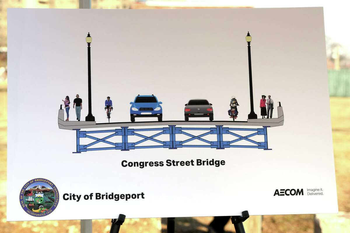 An artist's rendering of the new Congress Street bridge, in Bridgeport, Conn. Jan. 18, 2019. Plans for the new bridge are currently in development.