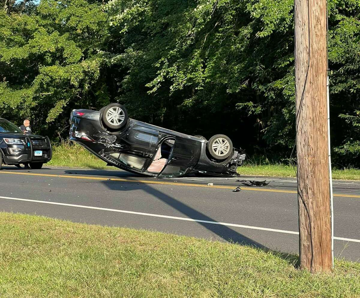 Units responded to the 1000 block of Ellington Road in South Windsor, Conn., around 5:50 p.m. Saturday, Sept. 11, 2021, to find a vehicle on its roof.