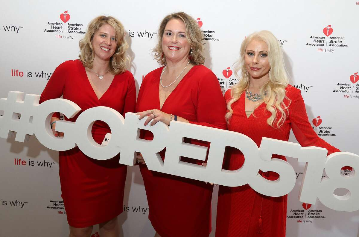 Former B95.5 radio personality Meredith McNeil, left,and former FLY 92.3 radio personality Christy Whitaker, right, pose with Better U member Emelene Bennett in an American Heart Association photo booth. McNeil has announced she is no longer with B95.5's Breakfast Club.