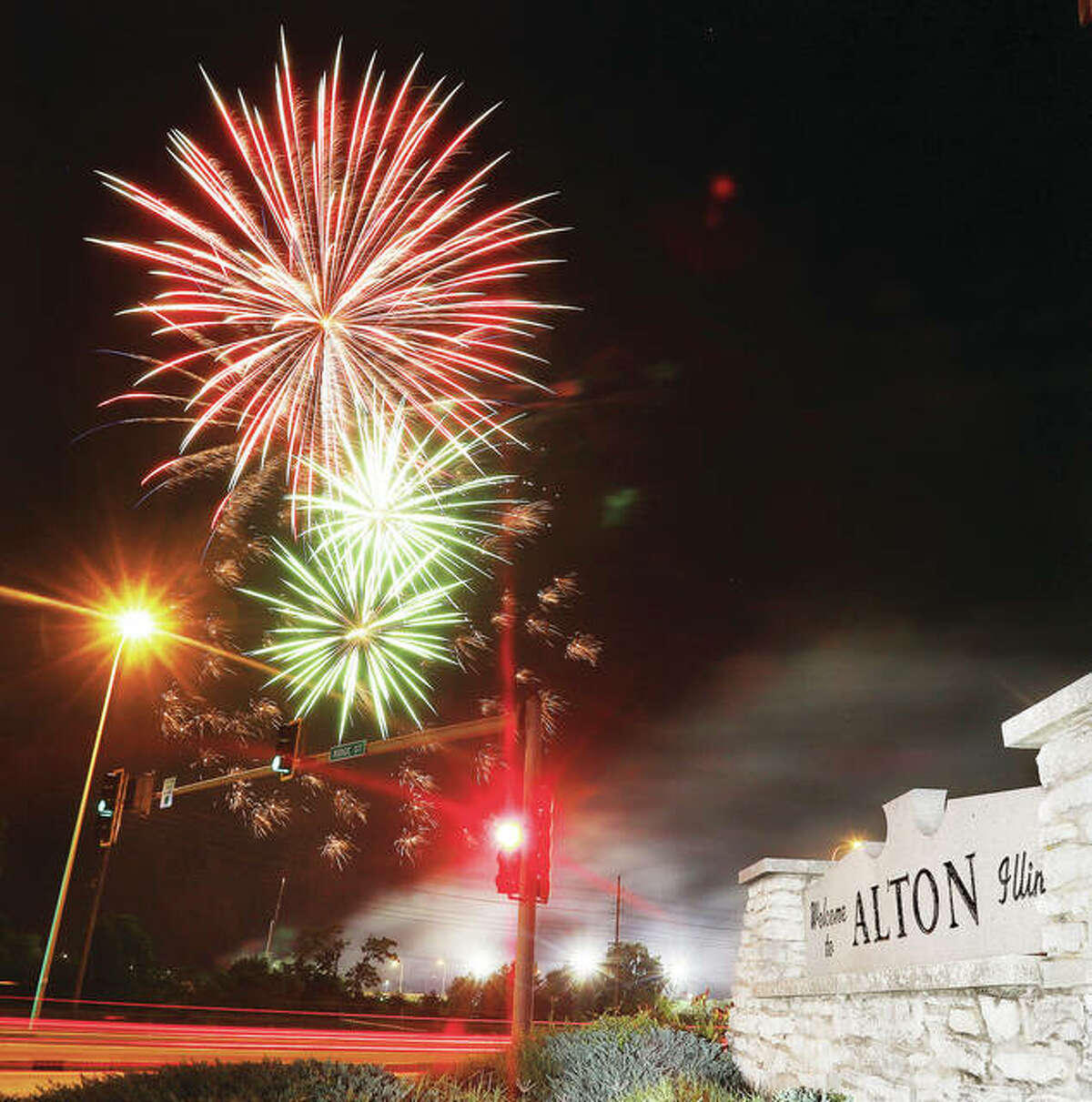 Thursday night fireworks, as photographed earlier this summer, will explode over the Alton and Godfrey riverfronts for the final time this week as both communities present extended shows at about 8:30 p.m., thanks to the Great Rivers and Routes Tourism Bureau of Sothwestern Illinois. - John Badman The Telegraph