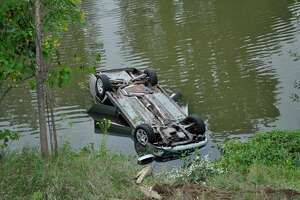 A Fairgrove woman is lucky to be alive after two good Samaritans rescue her from her submerged car Sept. 11. (MSP/Courtesy Photo)