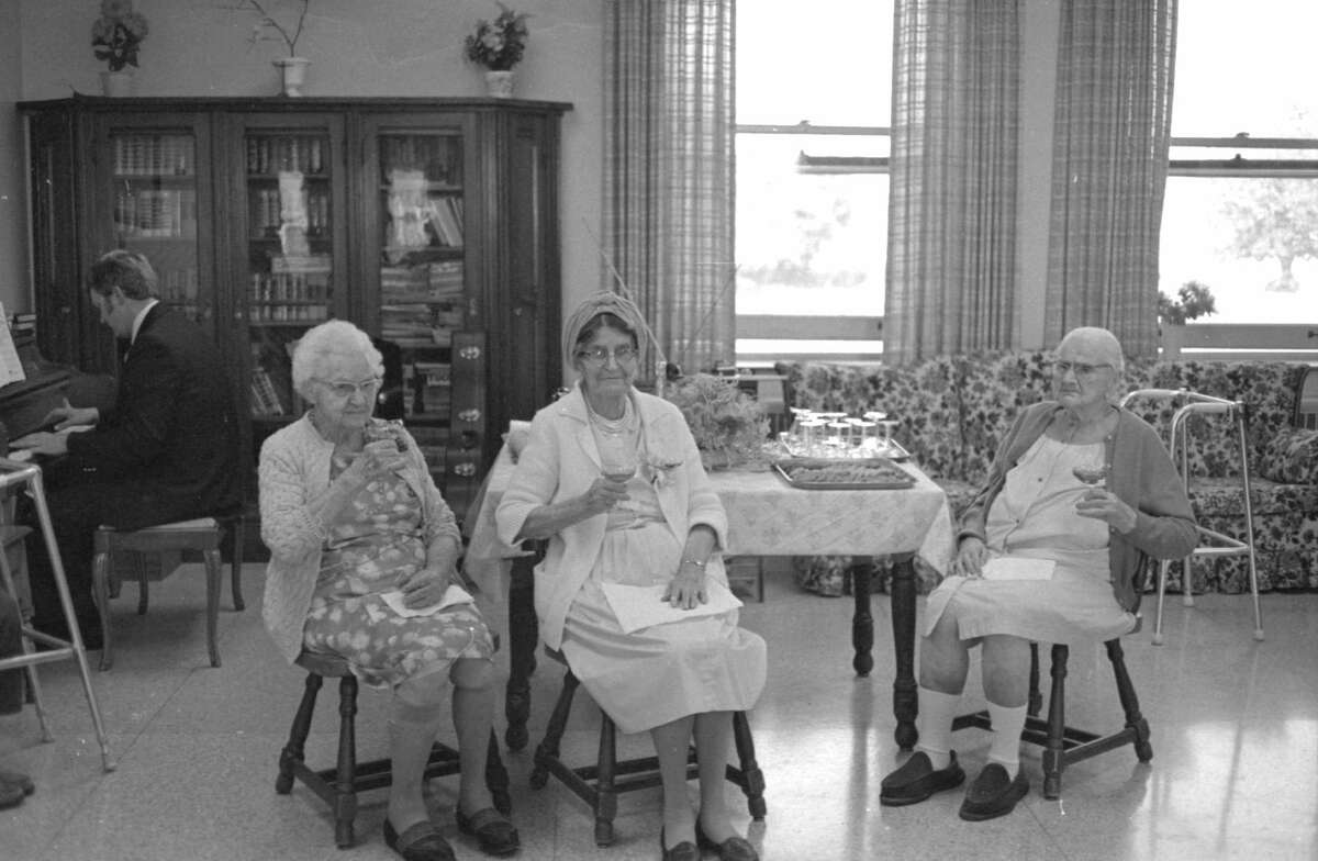 Manistee Heights Care Center kicked off a weeklong series of special events for residents with a reception Sunday afternoon in observance of Grandparents Day. Among those getting special honors as the oldest grandparents at the center were, (from left) Agnes Glocheski, 89; Mary Kowalski, 86, and Mary Wentland, 96. The photo was published in the News Advocate on Sept. 14, 1981. (Manistee County Historical Museum photo)
