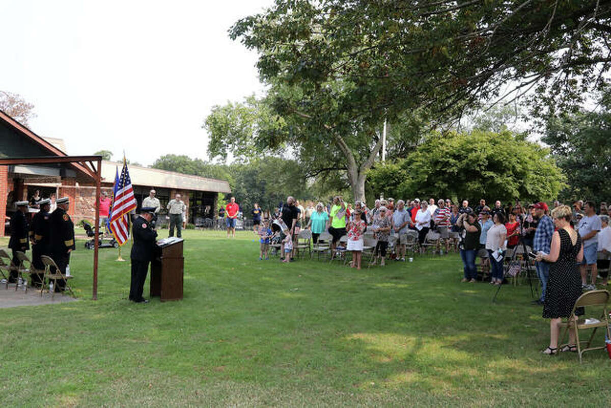 Amid the fun Saturday, club members, visitors and others took time out for a 9/11 Memorial Service at On the Hill Golf Club during the Kicks on 66 Car Show at American Legion Post 199.