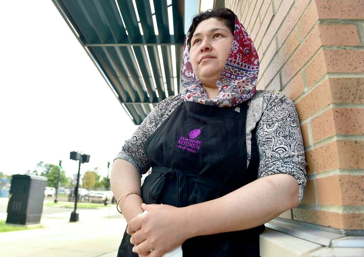 Homa Assadi, an Afghan chef at Sanctuary Kitchen in New Haven, still has family and friends in Afghanistan.