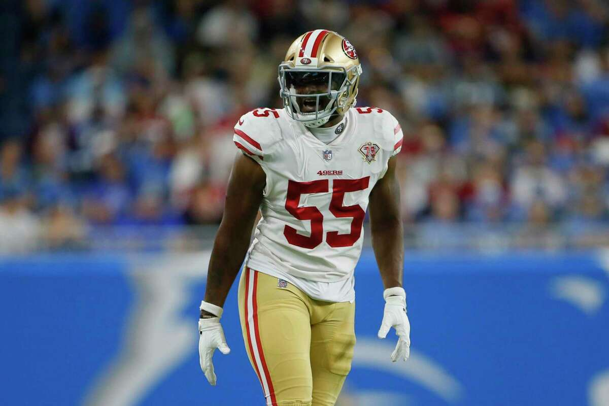San Francisco 49ers outside linebacker Dee Ford plays against the Detroit Lions in the first half of an NFL football game in Detroit, Sunday, Sept. 12, 2021. (AP Photo/Duane Burleson)