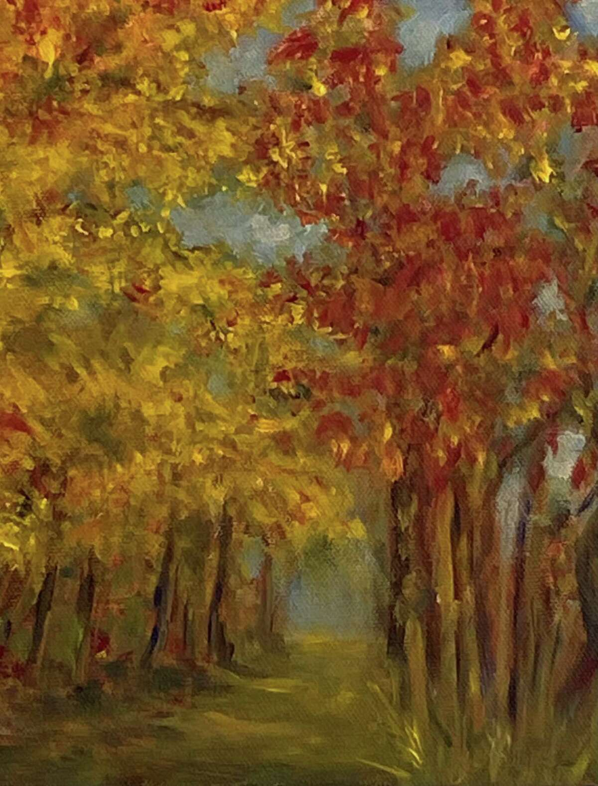 """""""Autumn Trees,"""" oil on canvas, was done by artist Glynnis Sorrentino. It's part of the Spectrum Art Gallery's new show."""