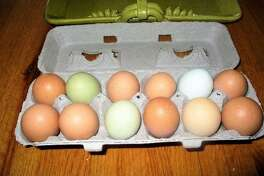 """Eggs from Chanticleer Acres, 55 Hutchinson Parkway, Litchfield, in the always-open """"Gypsy Wagon."""""""