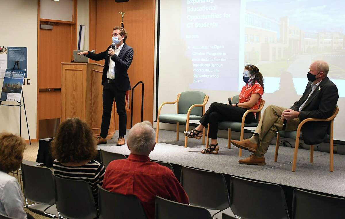 From left: State Sen. Will Haskell, state Rep. Aimee Berger-Girvalo and state Rep. Kenneth Gucker speak at a town hall hosted by the Ridgefield Library on Sept. 8.