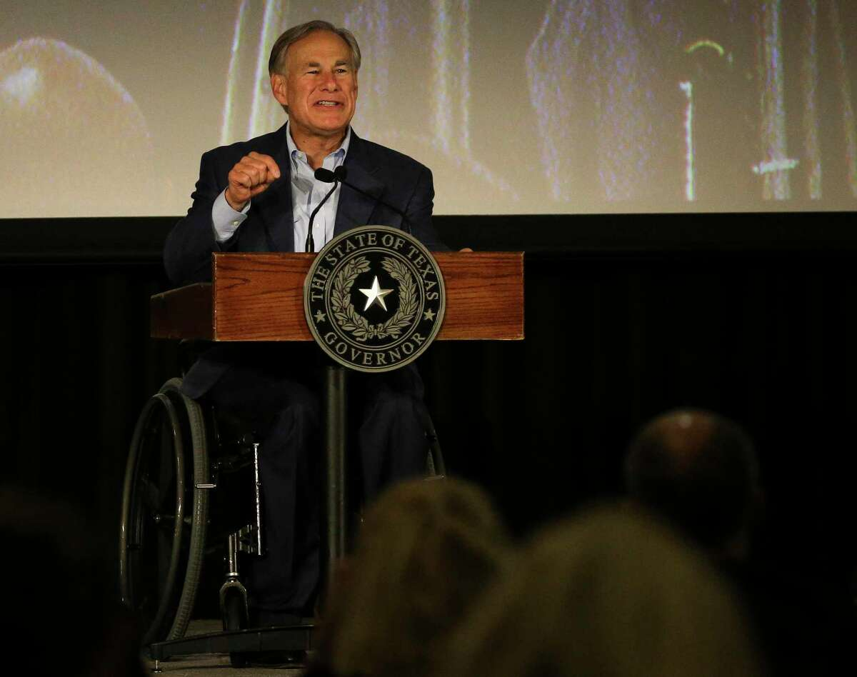Gov. Greg Abbott delivers remarks about bail system in Harris County at the Safer Houston Summit before he signs Senate Bill 6, named the Damon Allen Act in memory of a state trooper who was murdered by an individual out on bond in 2017, into law Monday, Sept. 13, 2021, at Bayou Events Center in Houston. Lt. Gov. Dan Patrick, Rep. Reggie Smith, and Kasey Allen, widow of Allen, were present at the signing.