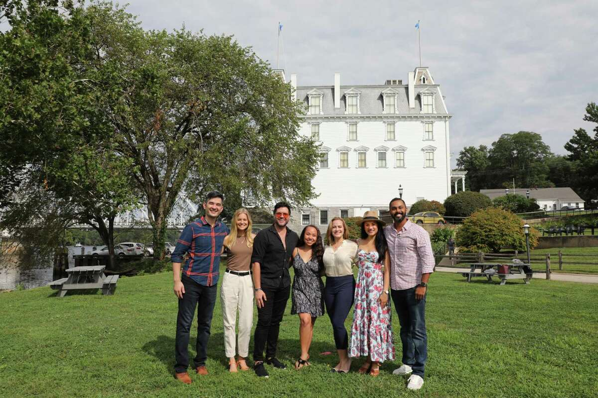 """From left are Goodspeed Musicals standbys Kevin Schuering and Kathryn Boswell, with Broadway's Mauricio Martínez, Jasmine Forsberg, Mamie Parris, Diane Phelan and Jesse Nager. The cast will present """"A Grand Night for Singing,"""" a Rodgers & Hammerstein review, later this month."""