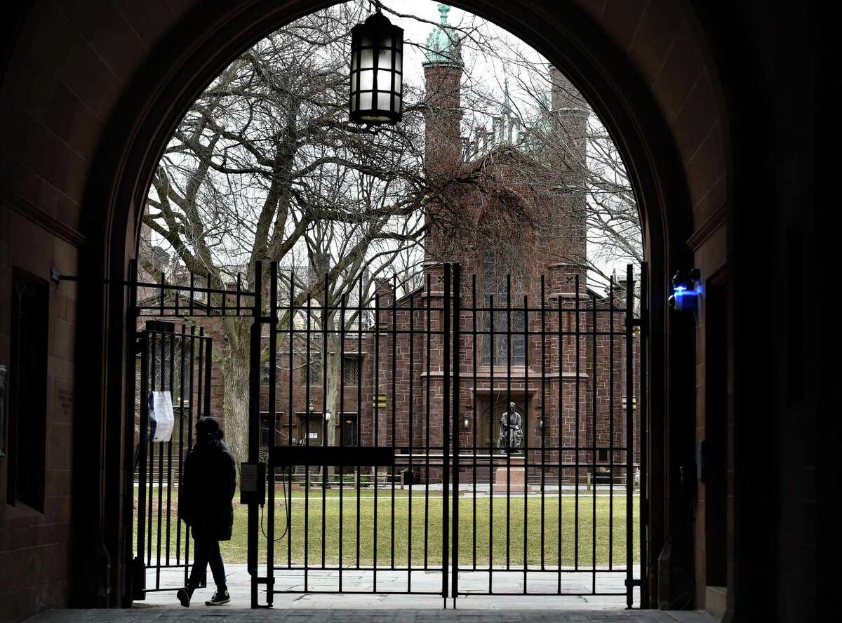 The Phelps Gate entrance to Yale University's Old Campus in New Haven on March 16, 2021 where commencement is held in the spring.
