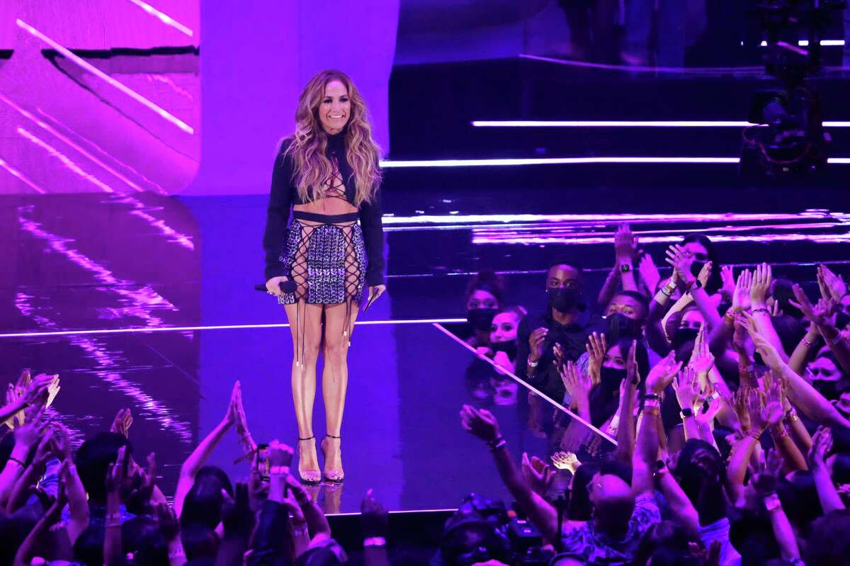 Jennifer Lopez presents the award for song of the year at the VMAs.