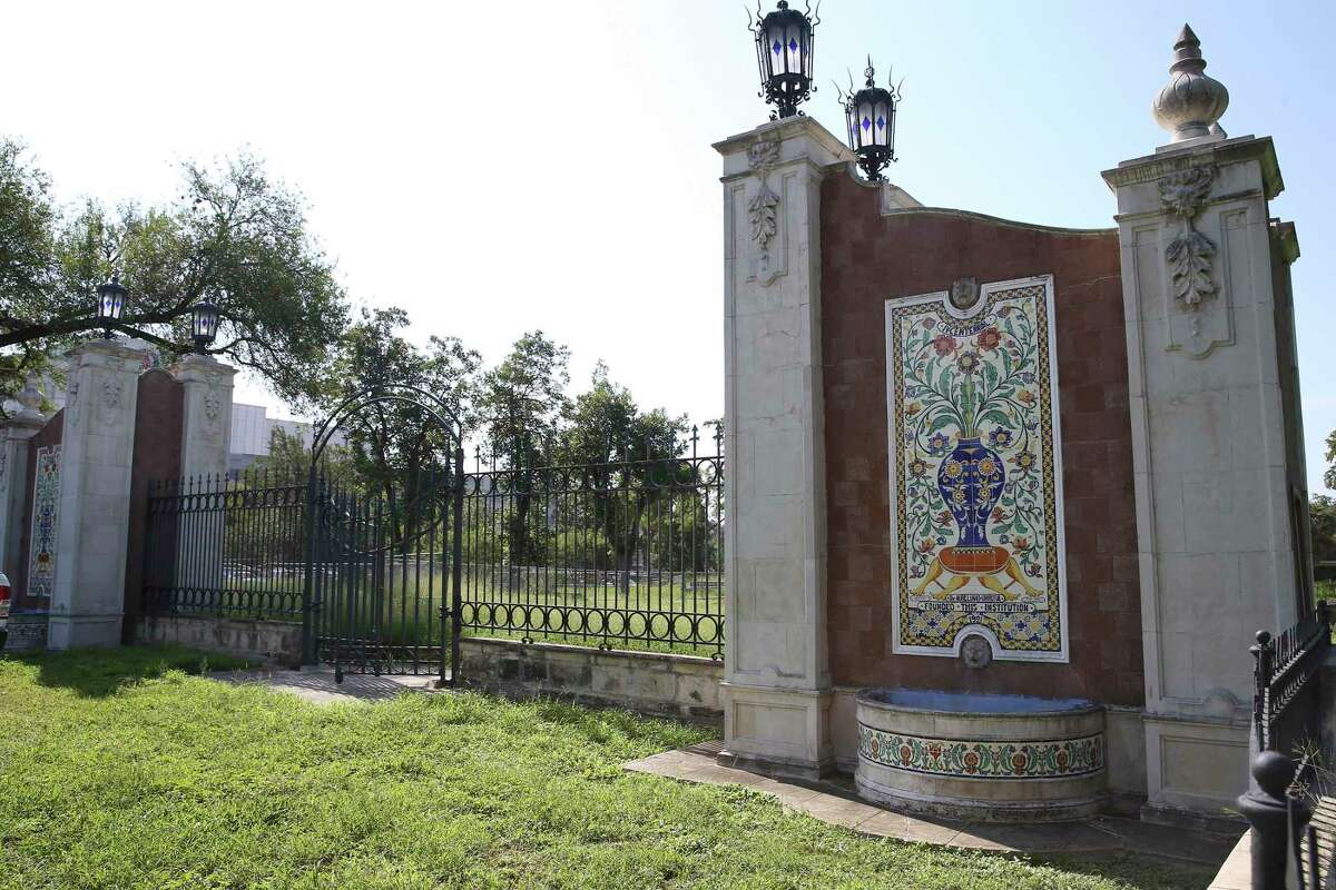 The gate at the entrance to Miraflores is seen on Wednesday, Sept. 8, 2021. The garden - on East Hildebrand Avenue across from the University of the Incarnate Word - was developed by Mexican surgeon Dr. Aureliano Urrutia in 1921.