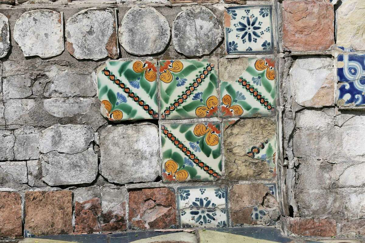 The detail of a tiled bench is seen at Miraflores on Wednesday, Sept. 8, 2021. The garden - on East Hildebrand Avenue across from the University of the Incarnate Word - was developed by Mexican surgeon Dr. Aureliano Urrutia in 1921.