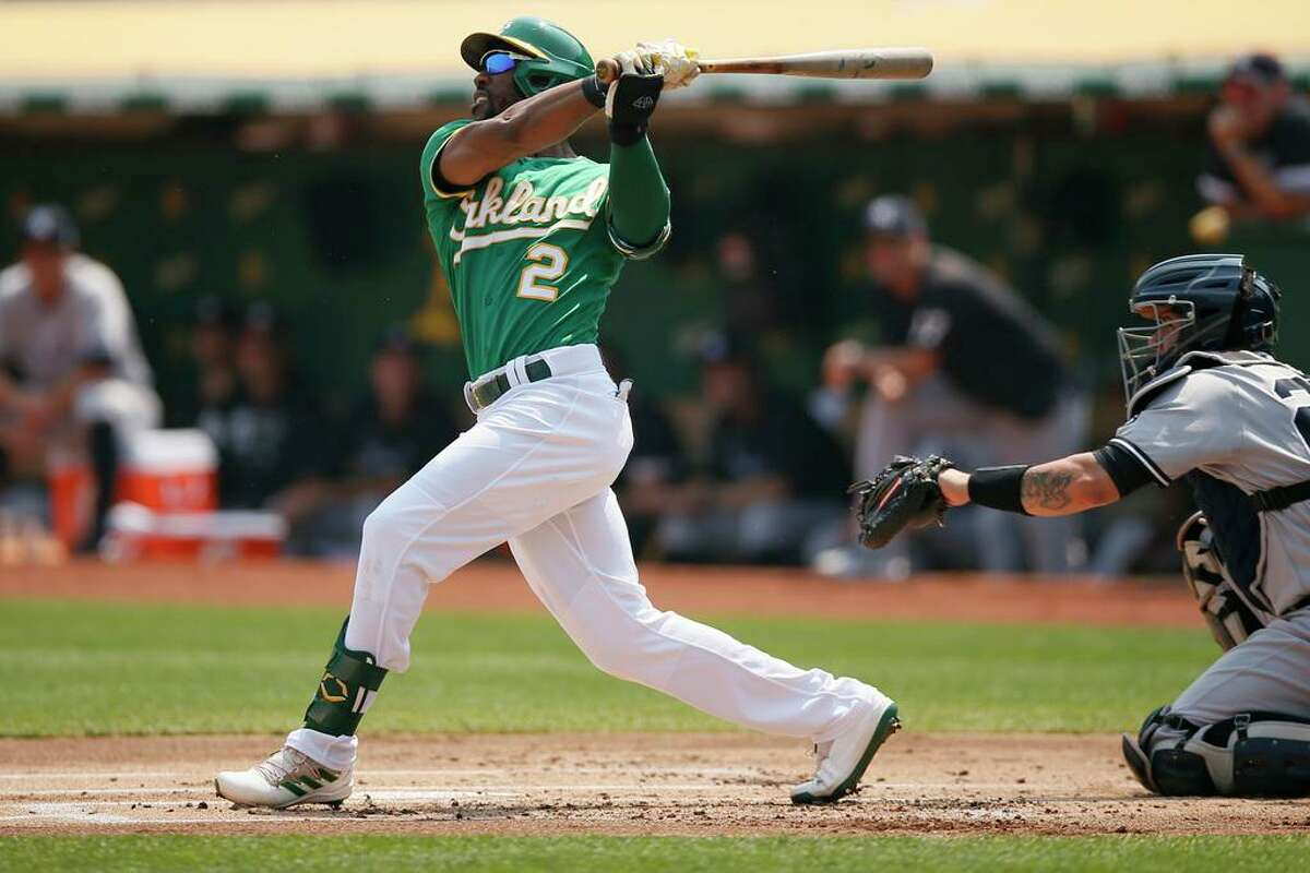 Oakland Athletics Starling Marte (2) in the first inning during an MLB game against the New York Yankees at RingCentral Coliseum on Saturday, Aug. 28, 2021, in Oakland, Calif.