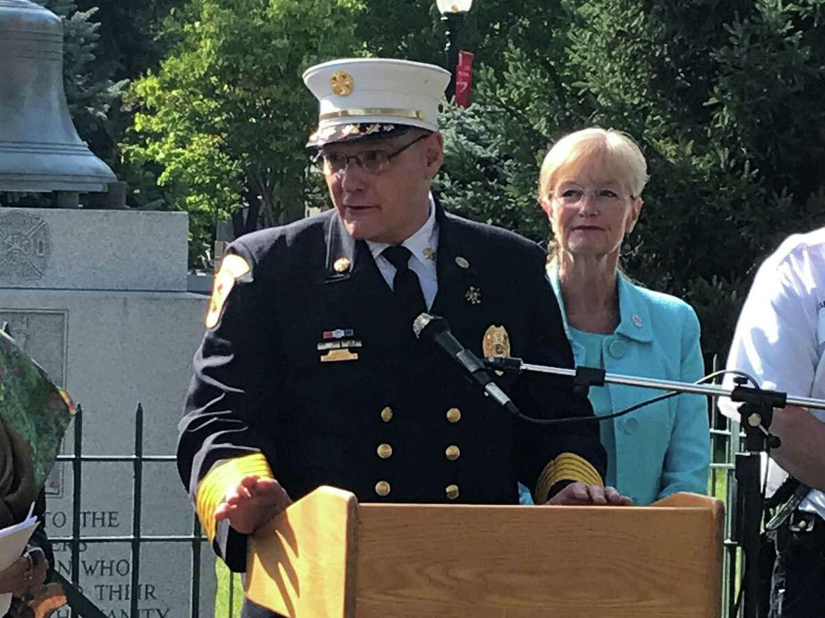 West Haven Allingtown District Fire Chief Michael Terenzio on Sept. 13, when West Haven received $1.2 million in federal grants for new fire equipment.