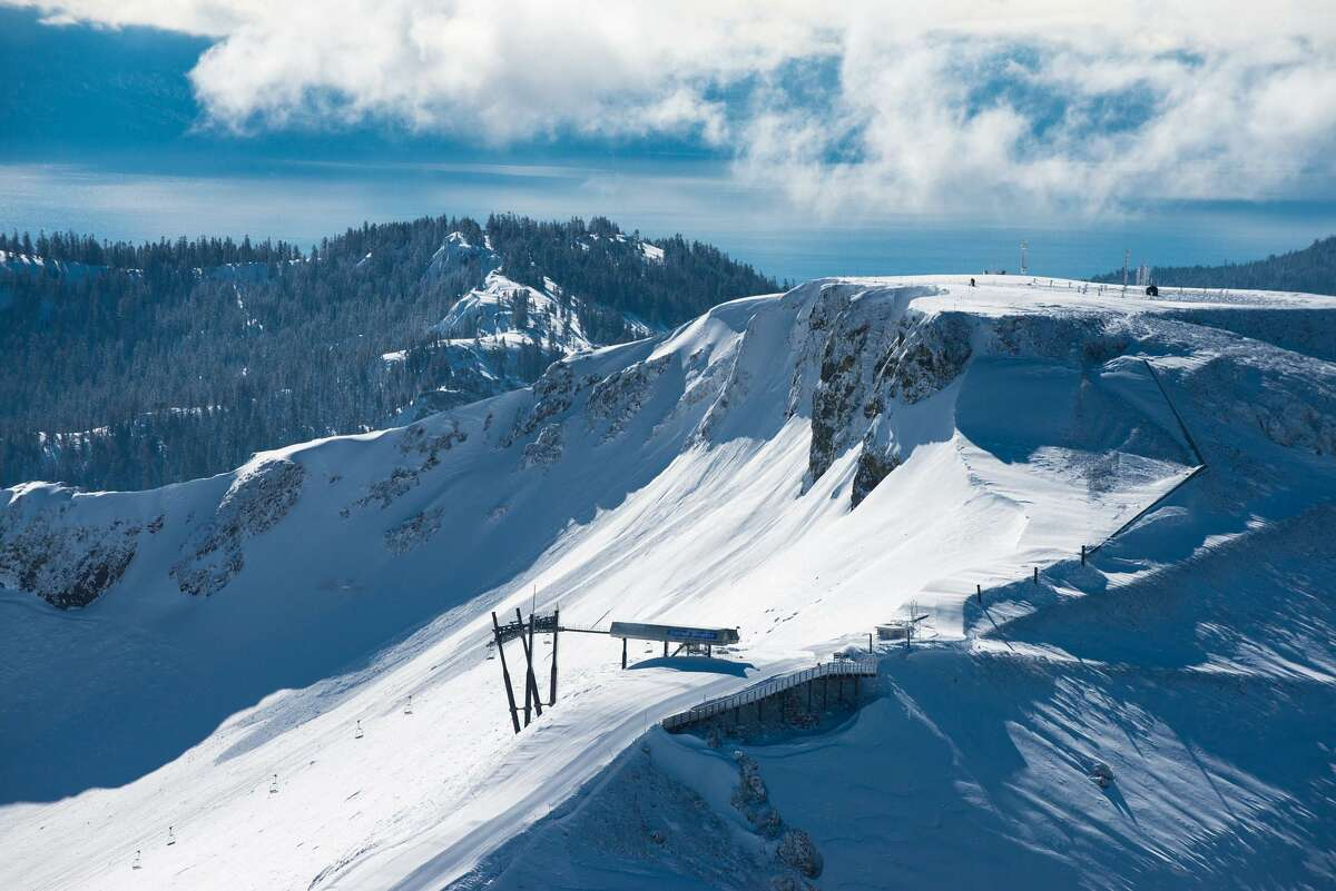 An aerial view of the Palisades terrain feature at Palisades Tahoe ski resort.