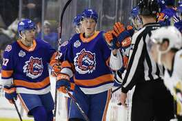 The Sound Tigers' Simon Holmstrom (15) celebrates after scoring a goal against the Wilkes Barre-Scranton Penguins on Feb. 15, 2020 at Webster Bank Arena in Bridgeport, Conn.