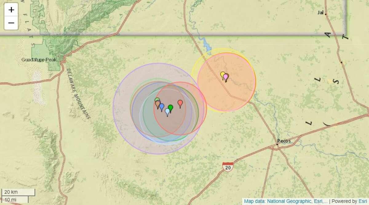 Seismic activity in the last 3 days near Mentone, Texas.
