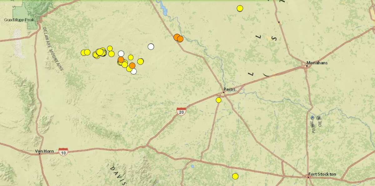 Seismic activity in the last week in Far West Texas.