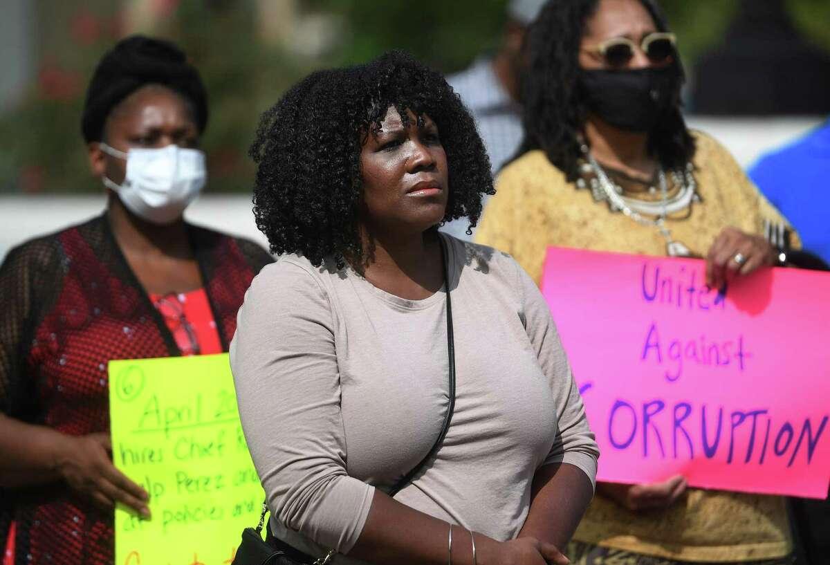 Gemeem Davis, co-director of Bridgeport Generation Now, attends the group's rally calling for the resignation of Mayor Joe Ganim outside the Margaret Morton Government Center in Bridgeport, Conn. on Monday, September 14, 2020.