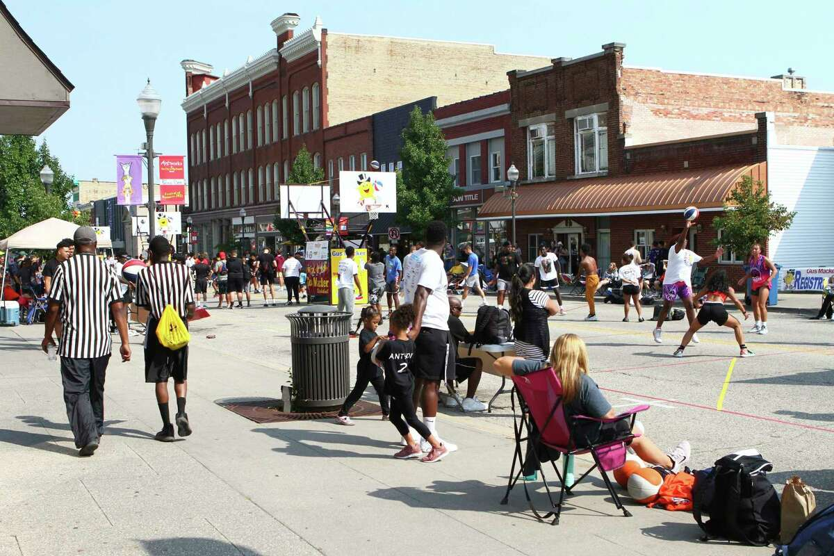 Over the weekend, the Gus Macker 3-on-3 Basketball Tournament brought a little bit of life back into downtown Big Rapids. (Pioneer photo/Joe Judd)