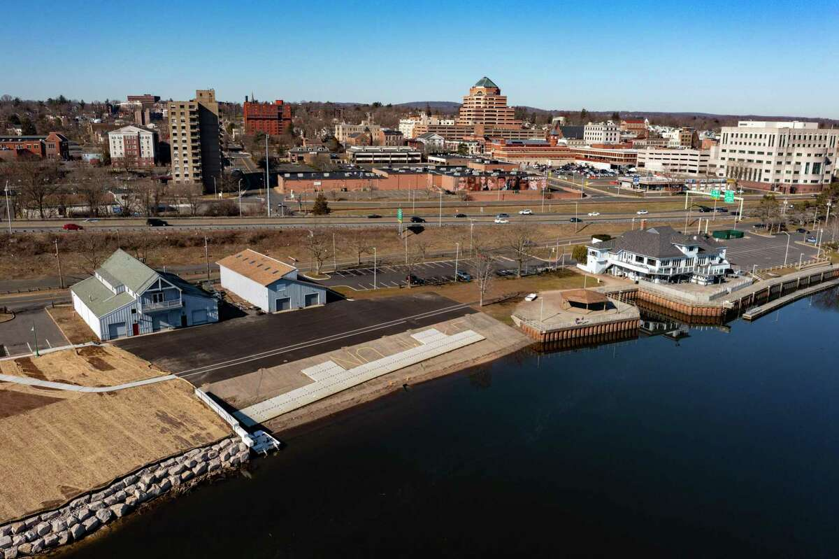A drone shot of the Connecticut Riverfront at Harbor Park shows the former canoe club (far right), where