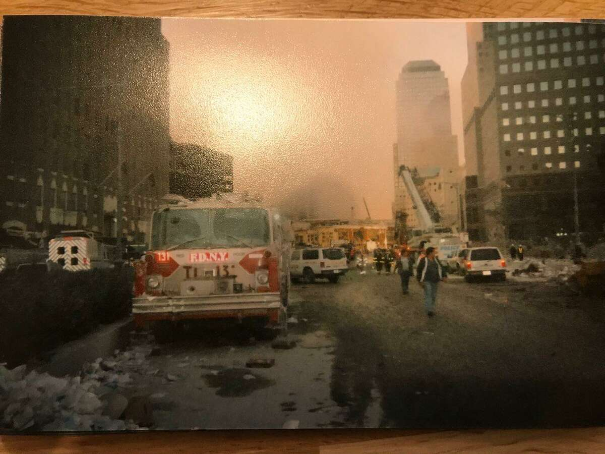 Shelton firefighters Paul Wilson, Mike Ullrich, Nick Meresko, Dave Sekelsky, Sr., and James Leonard at Ground Zero only hours after the terrorist attacks at the World Trade Center.