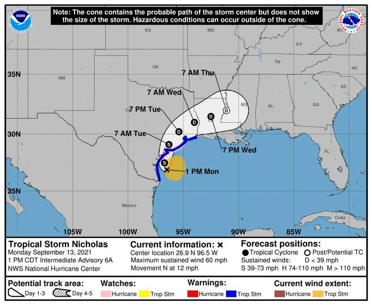 The National Weather Service reports there is a possibility of heavy rain and flooding associated with the arrival of Tropical Storm Nicholas on Monday, Sept. 13, 2021, through Tuesday, Sept. 14, 2021.