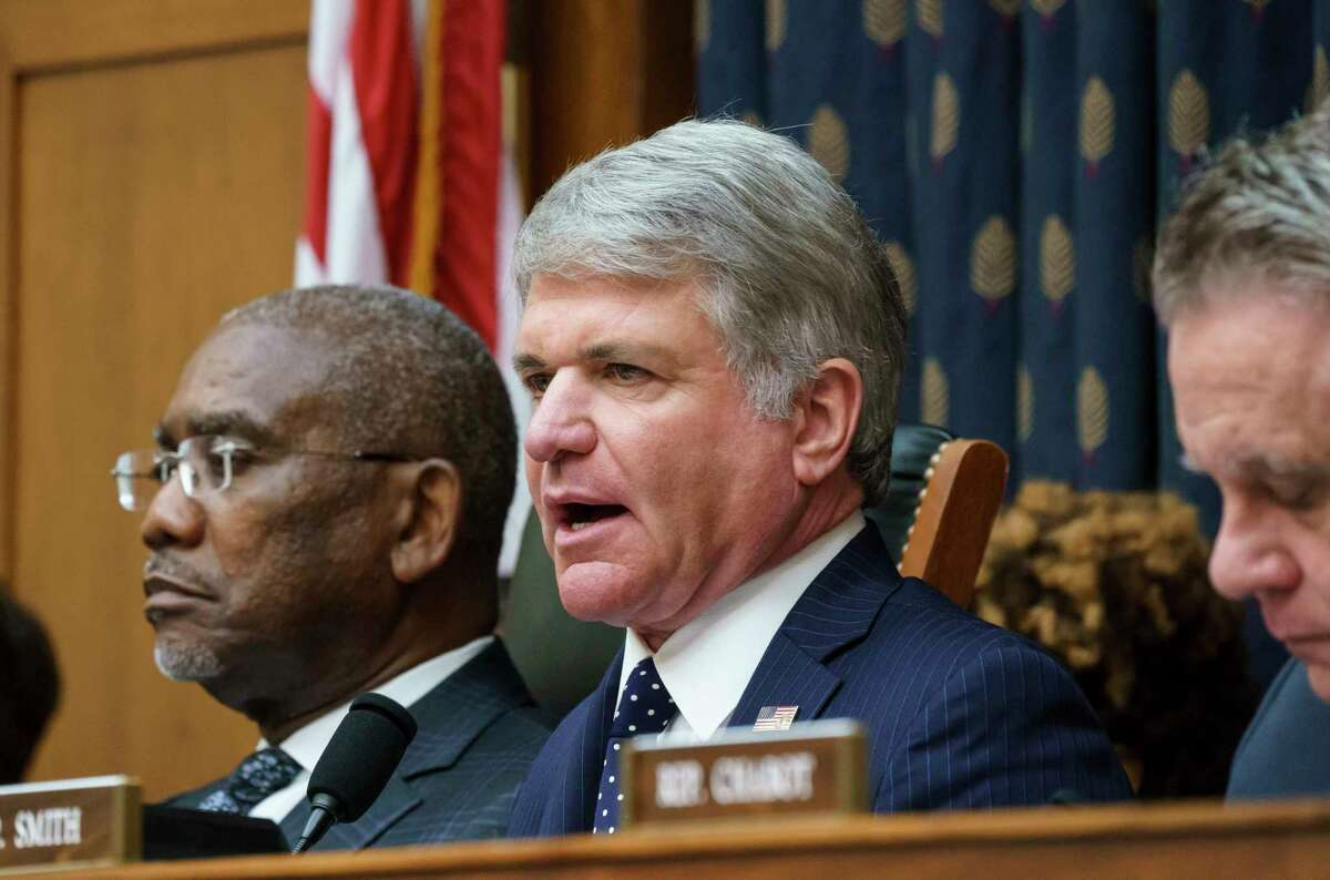 Rep. Michael McCaul, R-Texas, ranking member of the House Foreign Affairs Committee, joined at left by Chairman Gregory Meeks, D-N.Y., discusses the U.S. withdrawal from Afghanistan with Secretary of State Antony Blinken who appeared remotely, at the Capitol in Washington, Monday, Sept. 13, 2021.