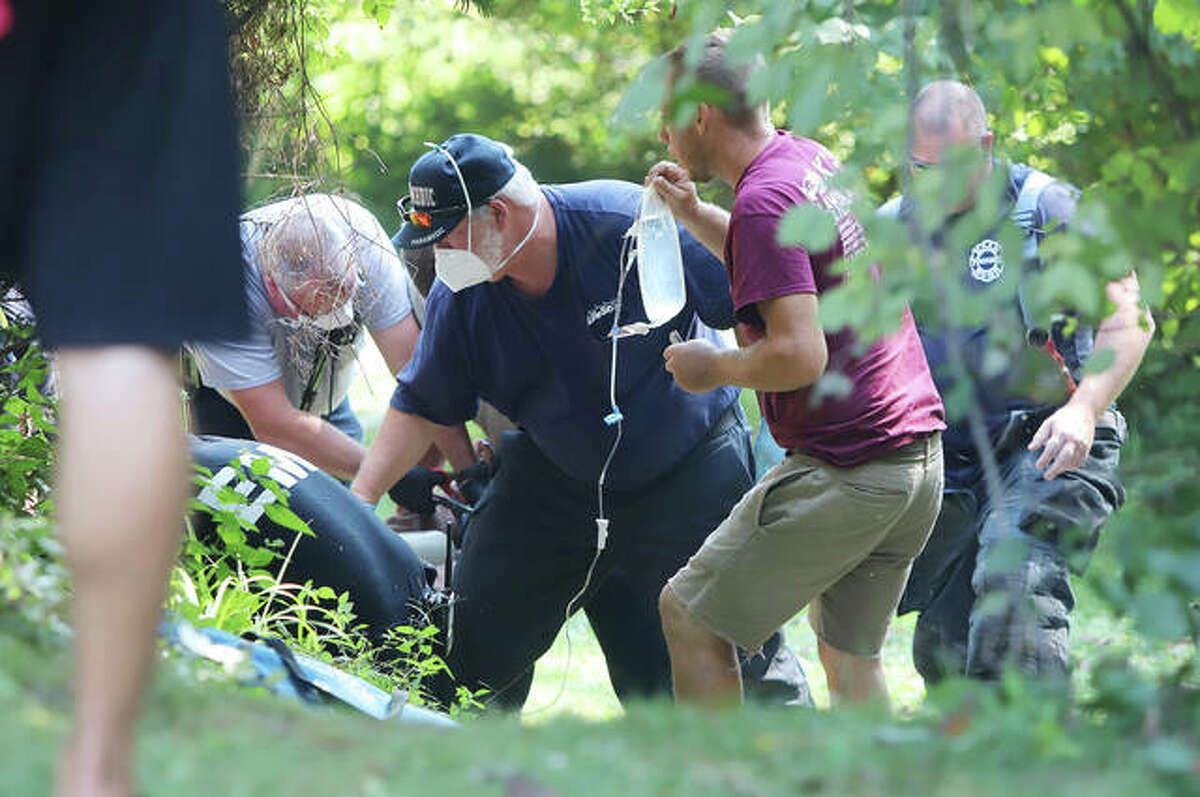 Additional photos from the lawn mower accident Monday in Godfrey