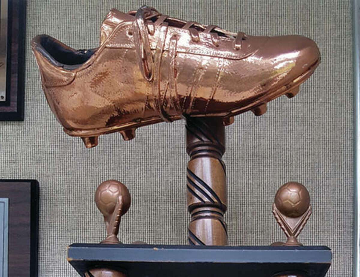 The top of the Joseph S. Carenza Bronze Boot Trophy. This year's Bronze Boot game is set for Tuesday at Saint Louis U.