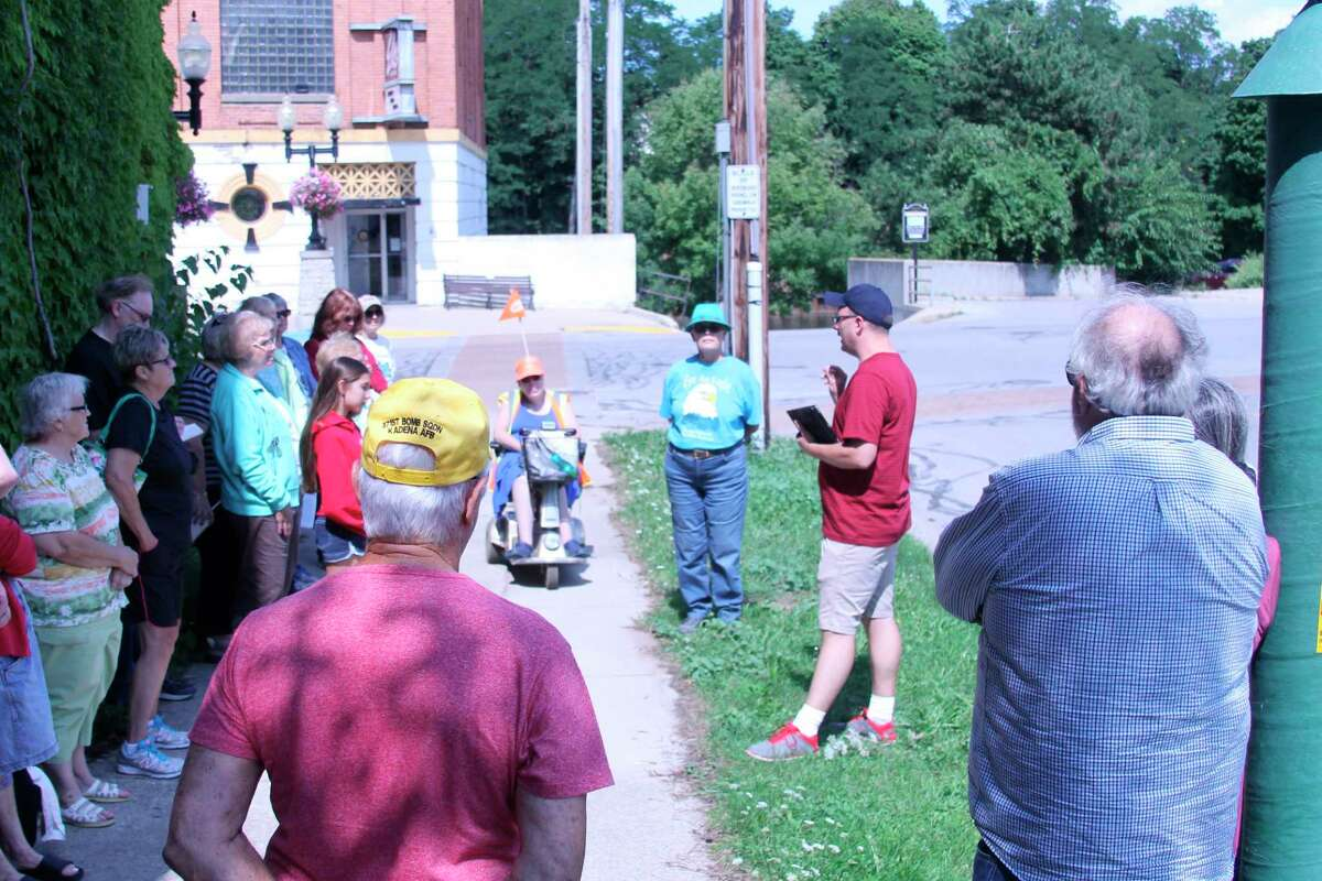 In 2016,Manistee County Historical MuseumExecutive Director Mark Fedder led a series of walking tours on River Street in Manistee. On Sept. 22, he will host a three guided tours of Water Street,explaining the history and importance of the structures that used to line the once prosperous street. Participation is limited. (File photo)